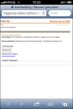 ING mobiele wervingssite | Taleo