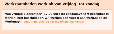 Werk.nl aankondiging down-time