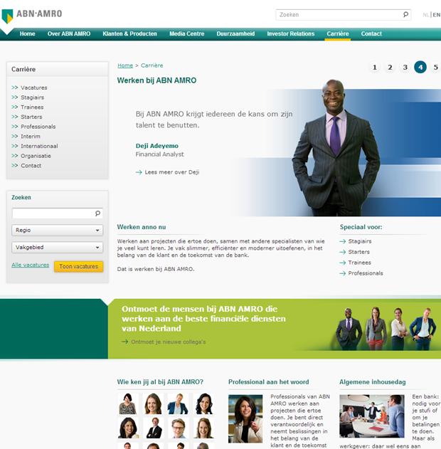 ABN AMRO wervingssite, homepage