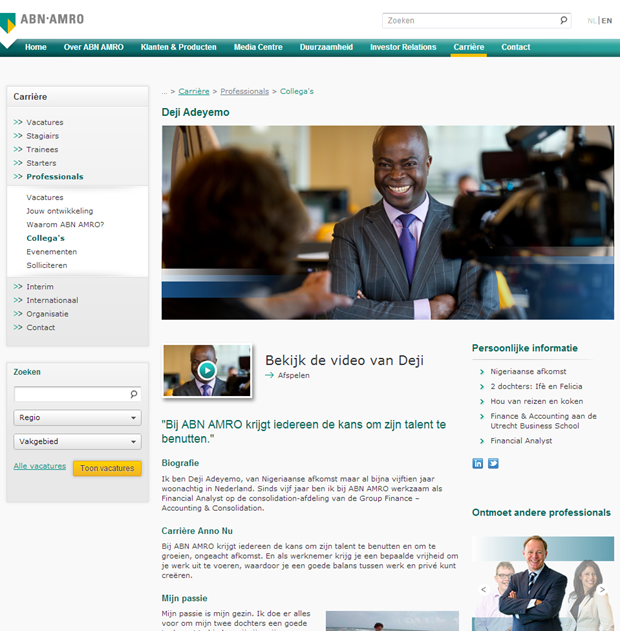 ABN AMRO wervingssite, detail persoon