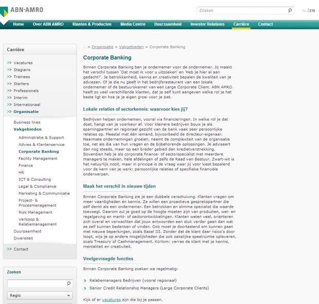 ABN AMRO wervingssite, detail vakgebied