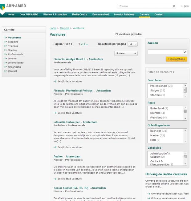 ABN AMRO wervingssite, zoekresultaat