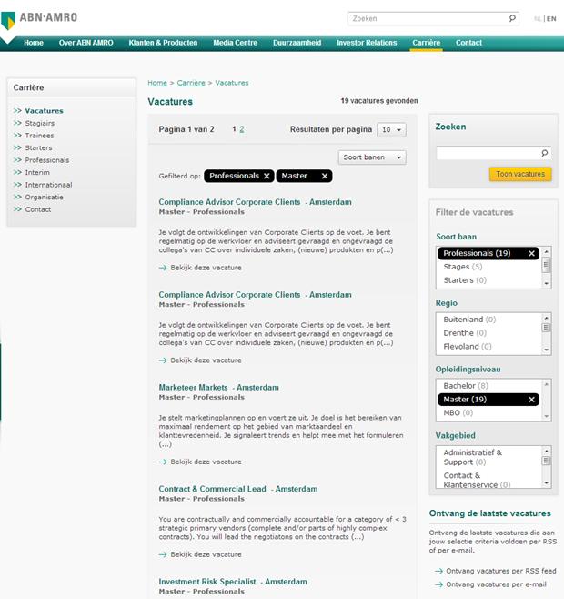 ABN AMRO wervingssite, facet detail