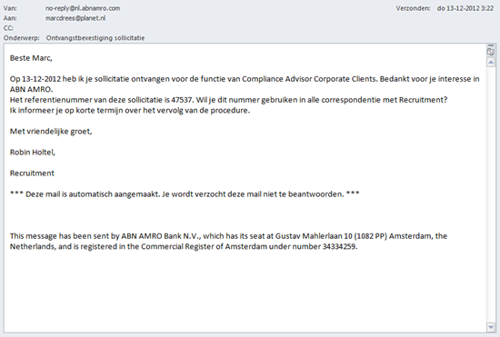 ABN AMRO wervingssite, automatische e-mail response