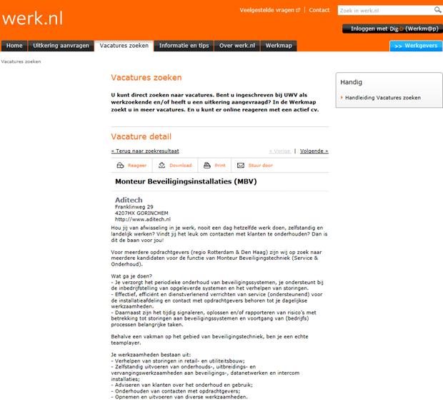 Werk.nl   Vacaturepagina