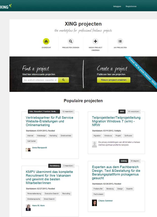 XING projecten | Homepage