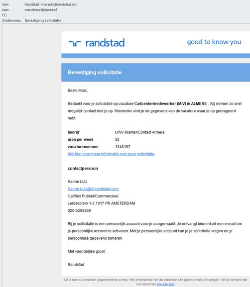 Randstad | automatische e-mail response