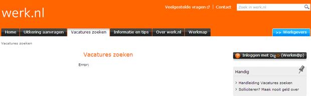 Werk.nl fout