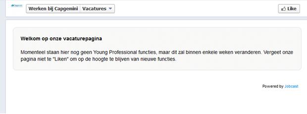 Cap Gemini, werken bij site op Facebook