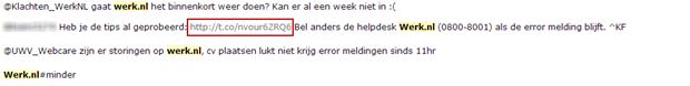 social media berichtjes over Werk.nl, 19 maart 2013