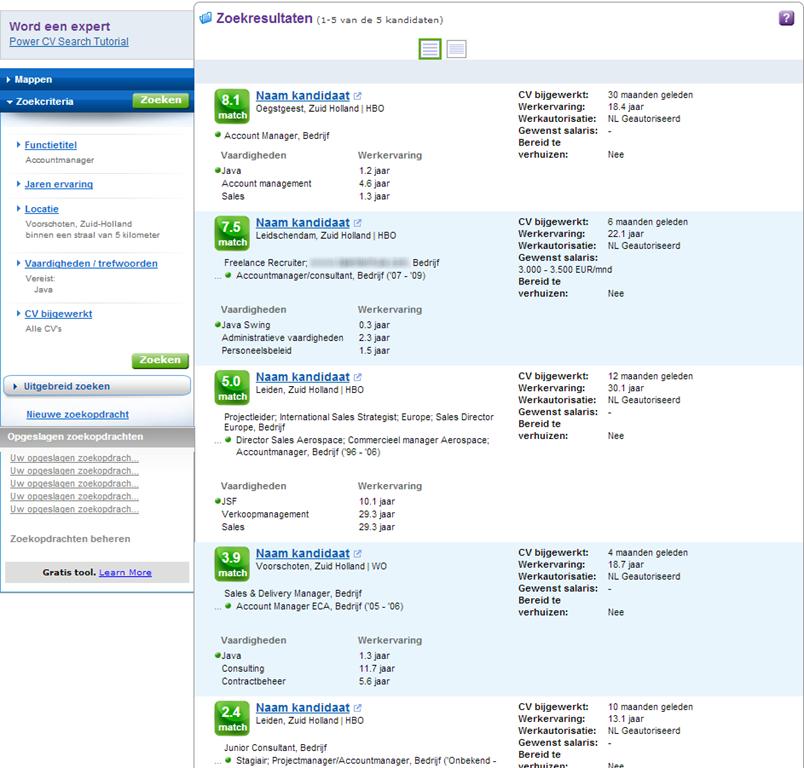 monsterboard cv Power CV Search, de Nederlandse variant van Monster's PRS