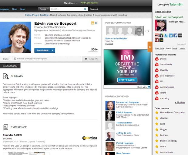 TalentBin sidebar Social Lookup