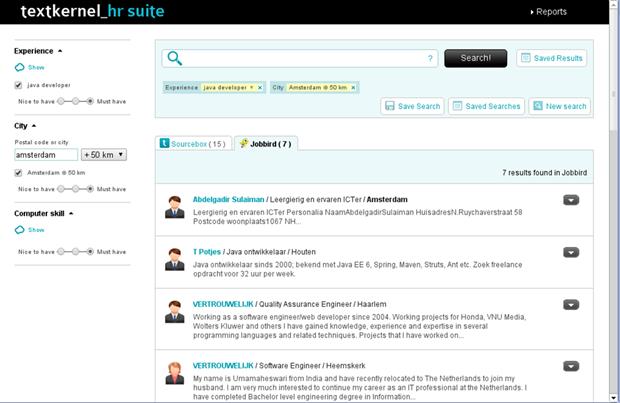 Schermvoorbeeld Textkernel Search! voor koppeling met Jobbird