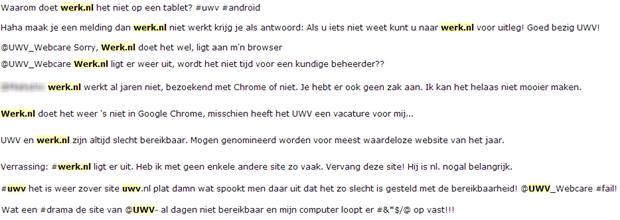 Meldingen over het niet functioneren van Werk.nl, 7 maart 2013