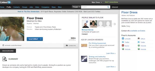 Entelo | Sidebar in LinkedIn