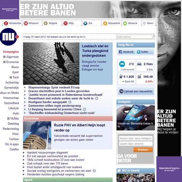 Monsterboard reclame op Nu.nl