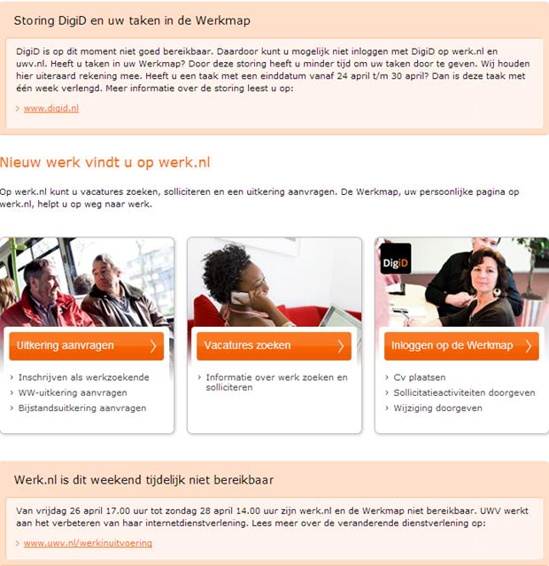 Werk.nl | Homepage met mededelingen