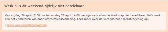 Melding onbeschikbaarheid Werk.nl