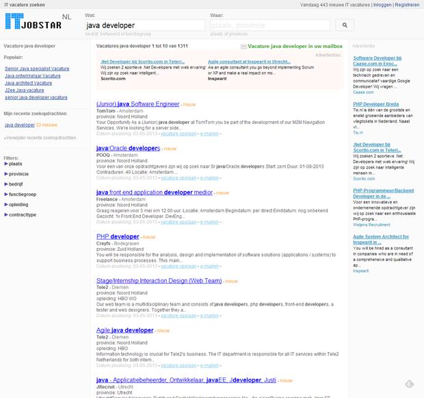 ITJobStar | Pagina zoekresultaat