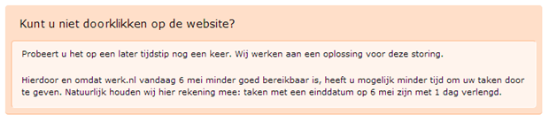 Onbeschikbaarheid Werk.nl