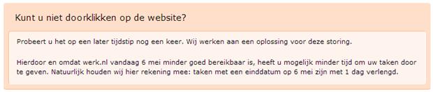 Foutmelding Werk.nl