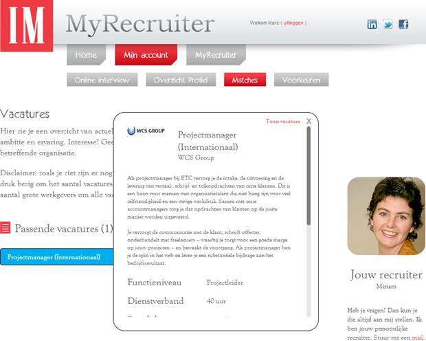 MyRecruiter | Popup vacature