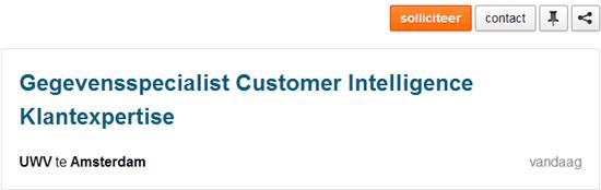 Vacature Gegevensspecialist Customer Intelligence Klantexpertise