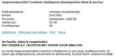 Vacature Gegevensspecialist Customer Intelligence Klantexpertise, 2