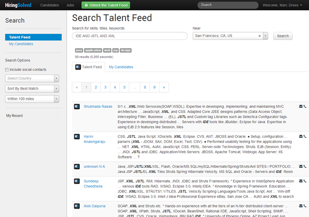 HiringSolved   Zoekscherm, logged in