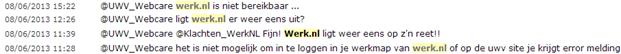 Tweets downtime Werk.nl