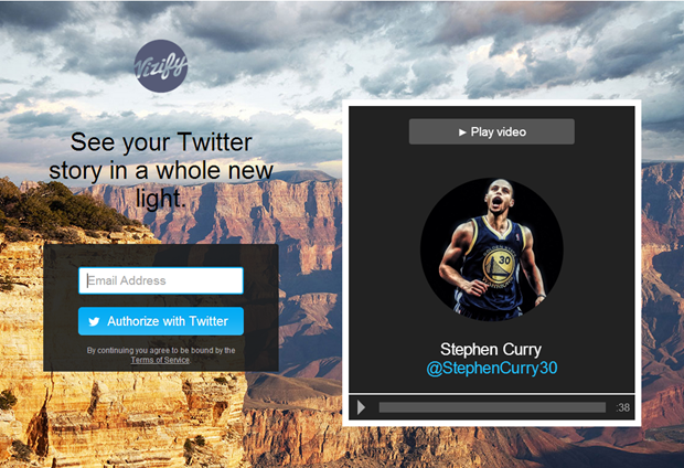 Vizify login voor tweetvideo