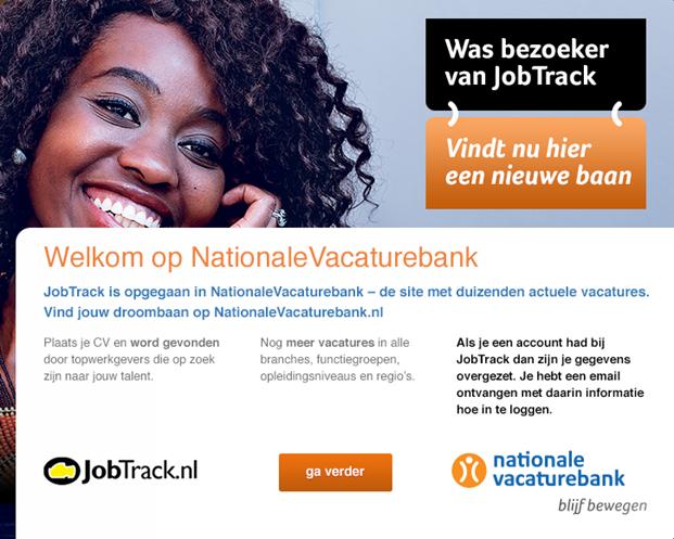 Overlay JobTrack op Nationale Vacaturebank