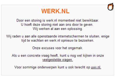 Werk.nl storing