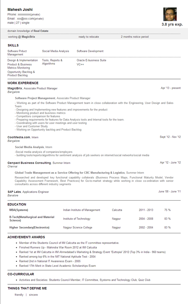 Jobbers'Park | Text Resume