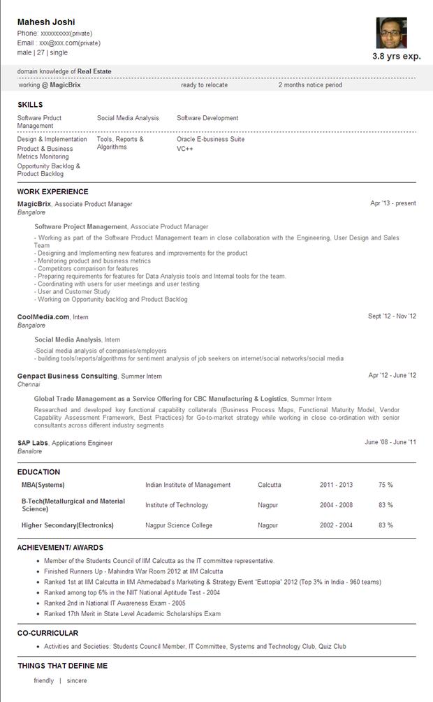 Jobbers'Park | Text Resume