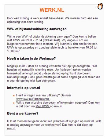 Storingsmelding Werk.nl
