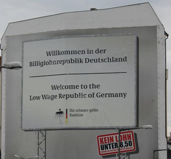 Verkiezingsposter voor minimumloon in Duitsland