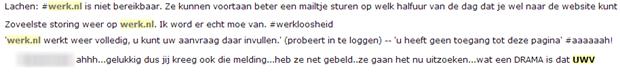 Onbeschikbaarheid Werk.nl 26 augustus 2013