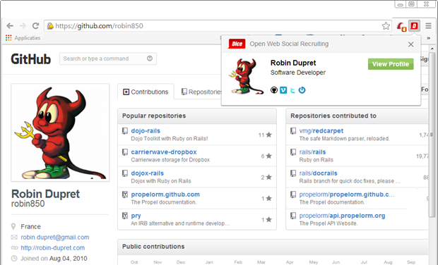Dice Open Web Chrome Extension