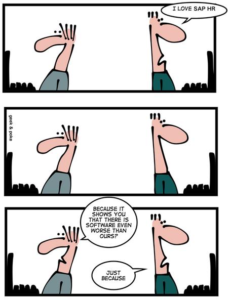 Geek & Poke: We all love HR software
