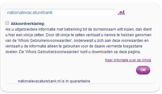 Nationale Vacaturebank in quarantaine