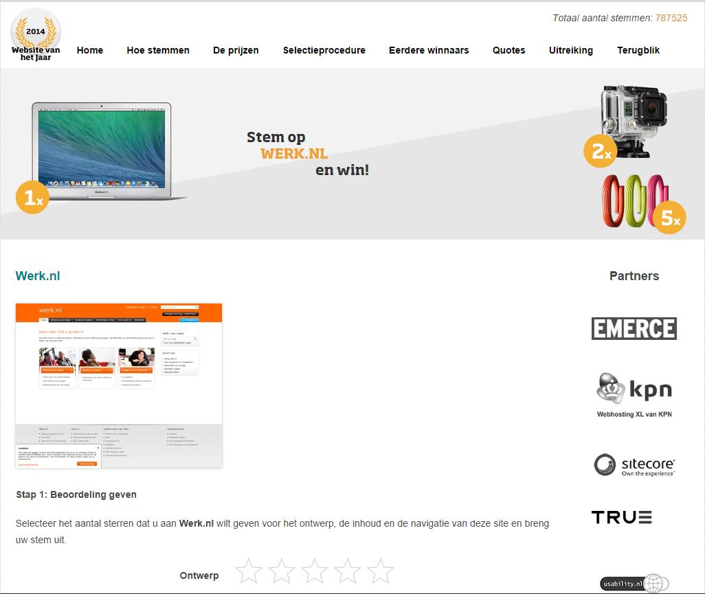 Werk.nl genomineerd als website van het jaar