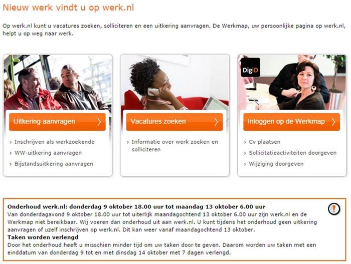 Werk.nl onderhoudsmelding