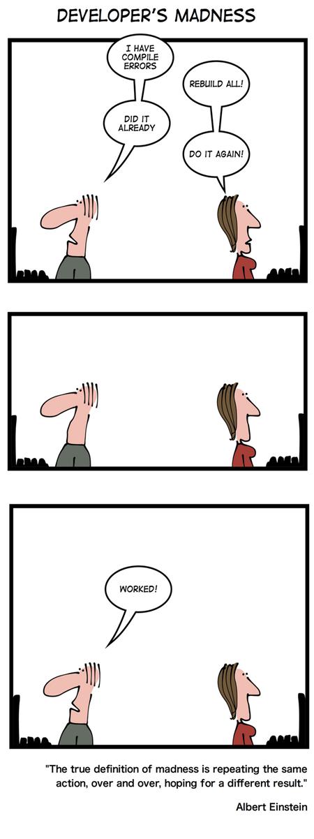 Geek & Poke: Developer's madness