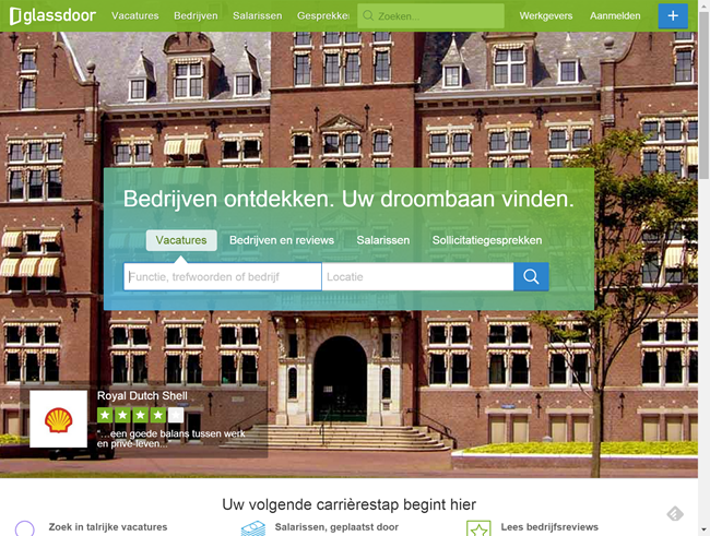 Homepage Glassdoor.nl
