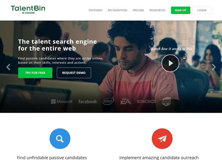 Homepage TalentBin