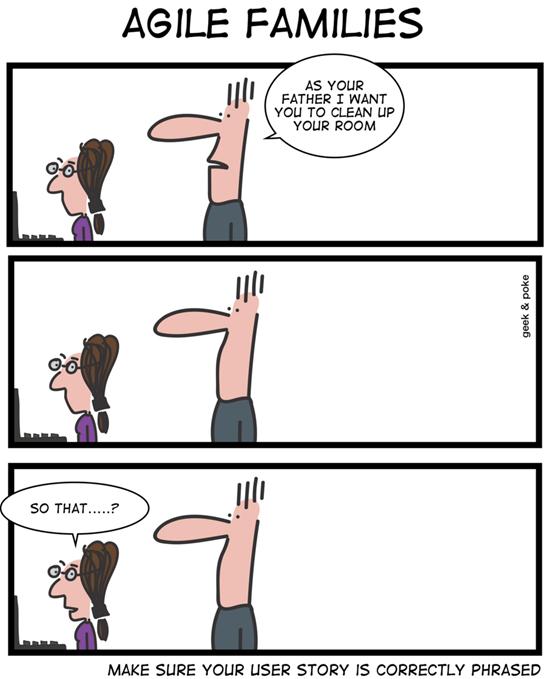 Geek & Poke: Agile Families