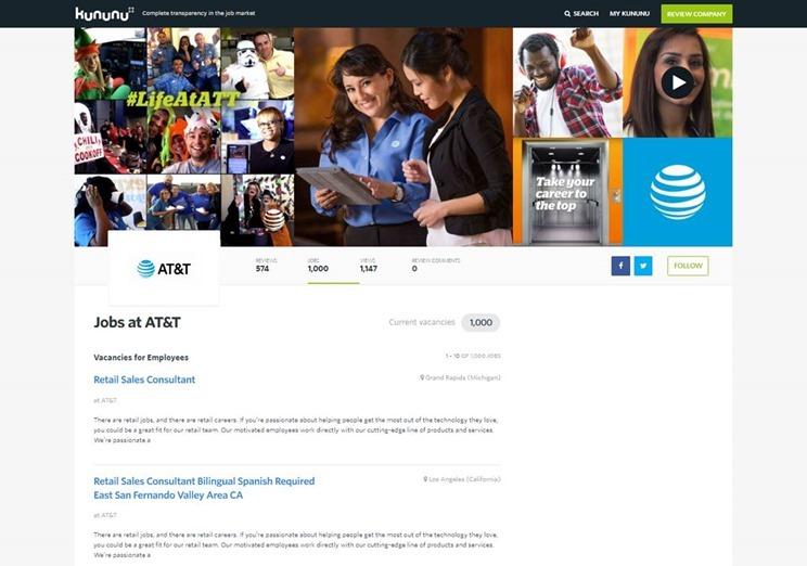 Kununu VS: AT&T jobs page