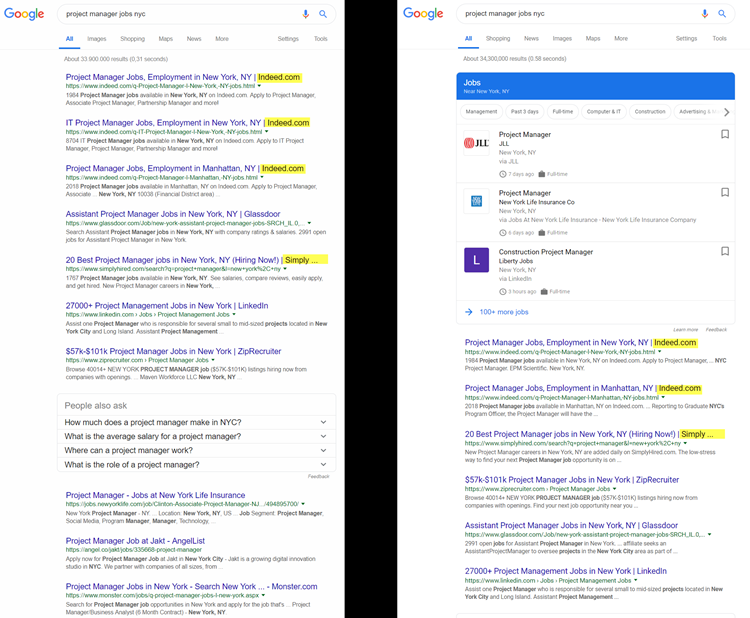 Zoekresultaat zonder en met Google for Jobs