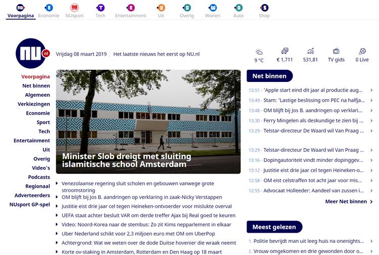 Nu.nl homepage